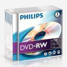 Philips DVD-RW 4.7GB Data/120 Min Video, 4x Speed Recording 5 Pack Jewel Case